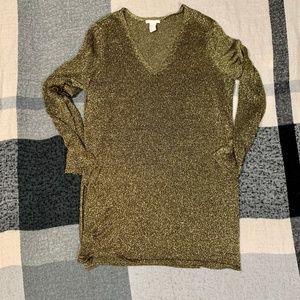 4/$25 • H&M Gold Shimmy Long Top/Tunic